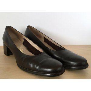 SALVATORE FERRAGAMO  Brown Leather High Heel Pumps